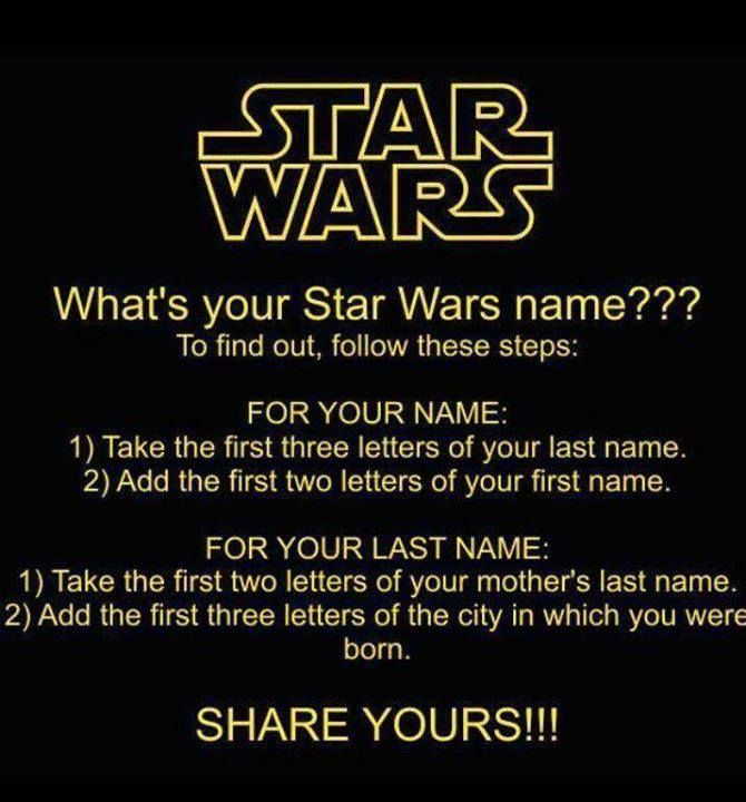star wars name game Epilogue   Week of May 25th